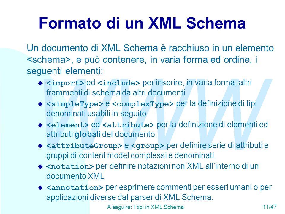 WWW A seguire: I tipi in XML Schema11/47 Formato di un XML Schema Un documento di XML Schema è racchiuso in un elemento, e può contenere, in varia forma ed ordine, i seguenti elementi:  ed per inserire, in varia forma, altri frammenti di schema da altri documenti  e per la definizione di tipi denominati usabili in seguito  ed per la definizione di elementi ed attributi globali del documento.