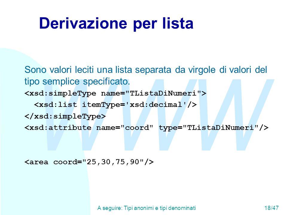 WWW A seguire: Tipi anonimi e tipi denominati18/47 Derivazione per lista Sono valori leciti una lista separata da virgole di valori del tipo semplice specificato.