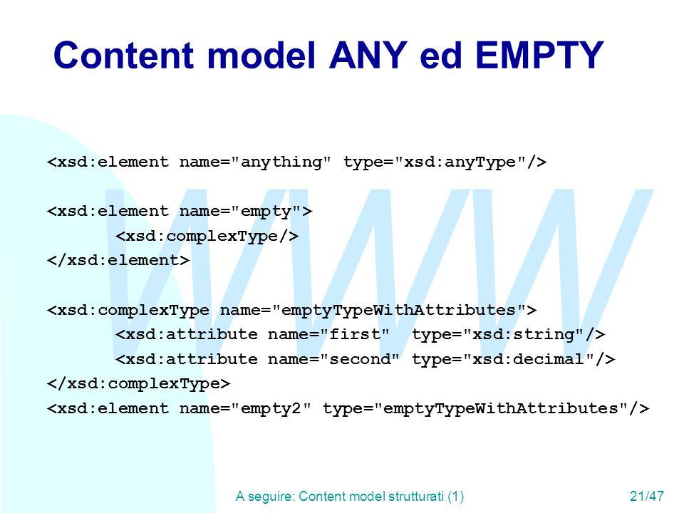 WWW A seguire: Content model strutturati (1)21/47 Content model ANY ed EMPTY