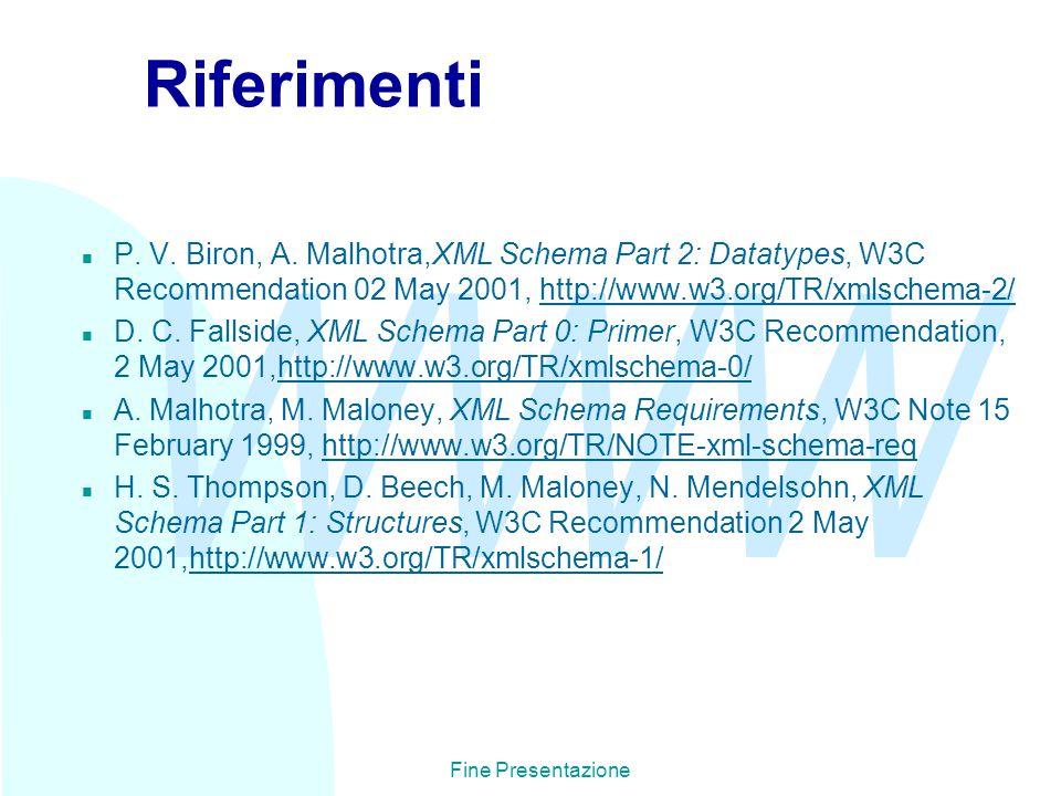 WWW Fine Presentazione Riferimenti n P. V. Biron, A.