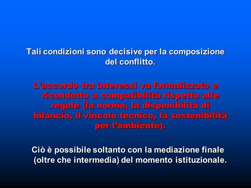 Tali condizioni sono decisive per la composizione del conflitto. L'accordo tra interessi va formalizzato e ricondotto a compatibilità rispetto alle re