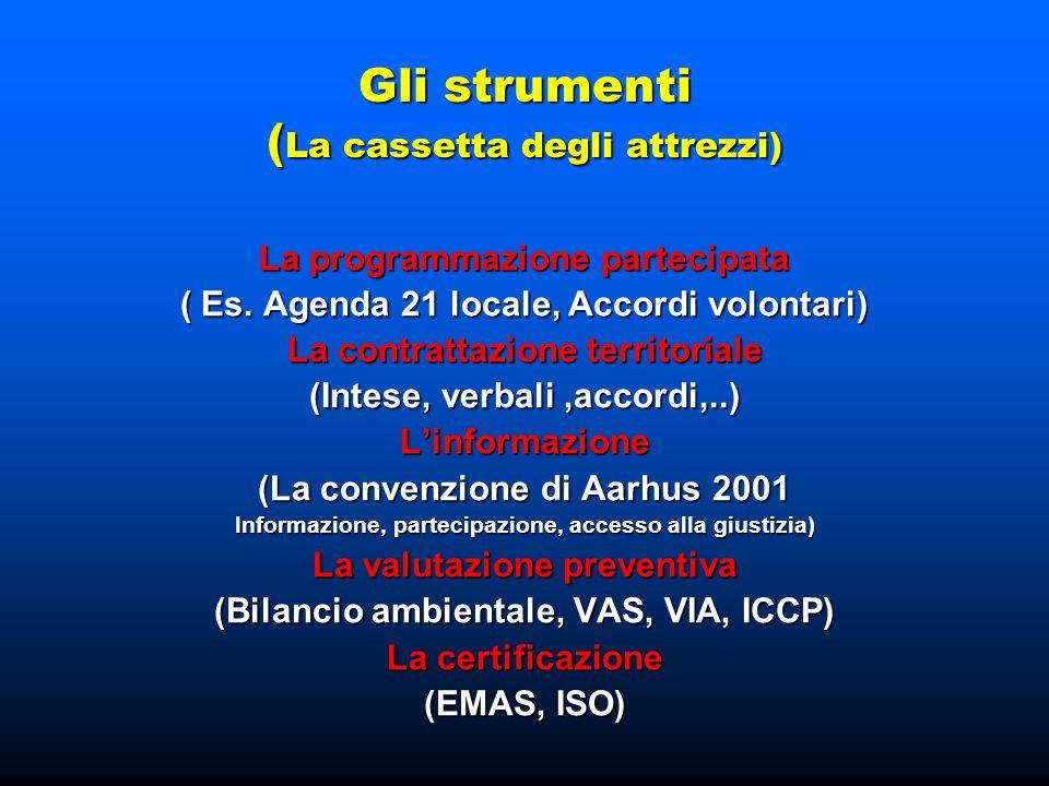 Gli strumenti ( La cassetta degli attrezzi) La programmazione partecipata ( Es. Agenda 21 locale, Accordi volontari) La contrattazione territoriale (I