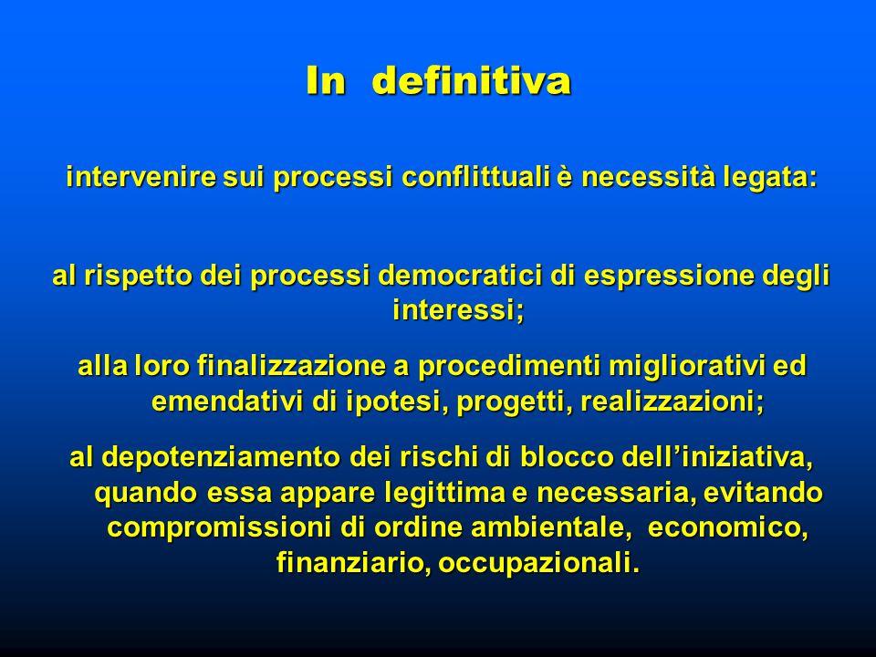 In definitiva intervenire sui processi conflittuali è necessità legata: al rispetto dei processi democratici di espressione degli interessi; alla loro