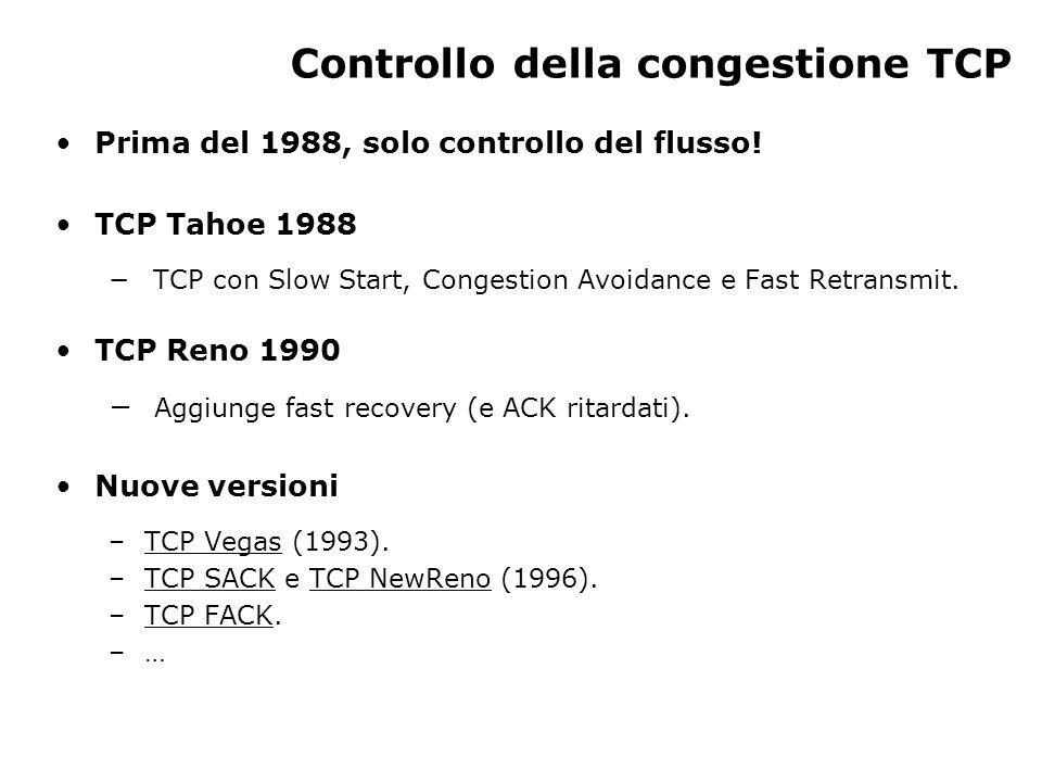Controllo della congestione TCP Prima del 1988, solo controllo del flusso.
