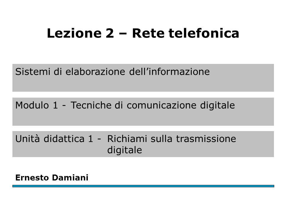 Sistemi di elaborazione dell'informazione Modulo 1 -Tecniche di comunicazione digitale Ernesto Damiani Lezione 2 – Rete telefonica Unità didattica 1 -Richiami sulla trasmissione digitale