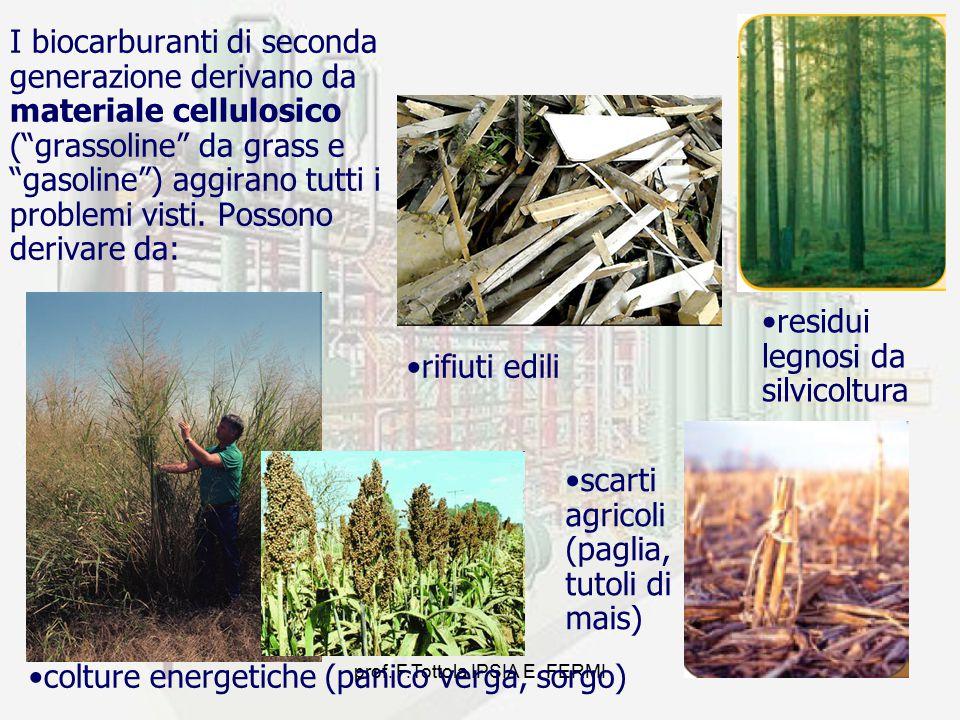 """prof. F.Tottola IPSIA E. FERMI10 I biocarburanti di seconda generazione derivano da materiale cellulosico (""""grassoline"""" da grass e """"gasoline"""") aggiran"""