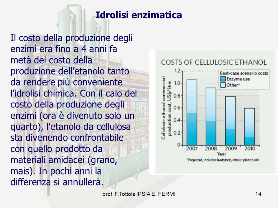 prof. F.Tottola IPSIA E. FERMI14 Il costo della produzione degli enzimi era fino a 4 anni fa metà del costo della produzione dell'etanolo tanto da ren