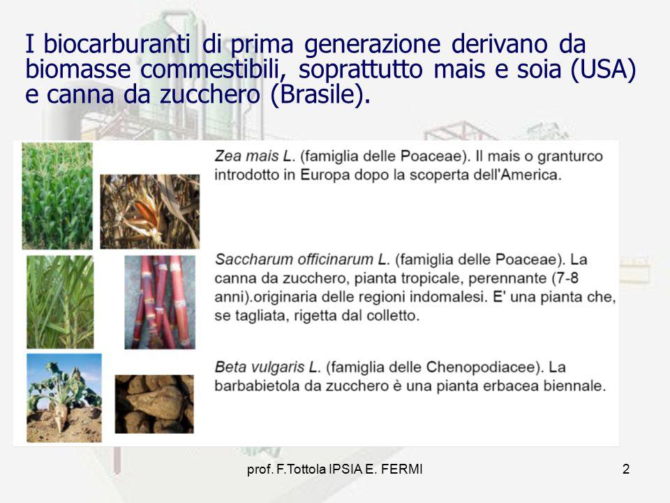 prof. F.Tottola IPSIA E. FERMI2 I biocarburanti di prima generazione derivano da biomasse commestibili, soprattutto mais e soia (USA) e canna da zucch