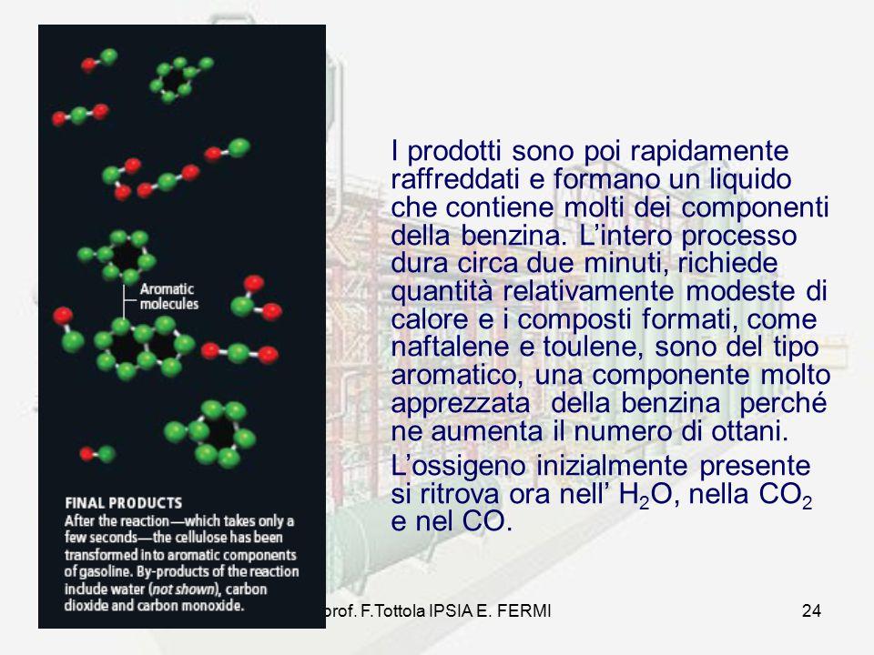prof. F.Tottola IPSIA E. FERMI24 I prodotti sono poi rapidamente raffreddati e formano un liquido che contiene molti dei componenti della benzina. L'i