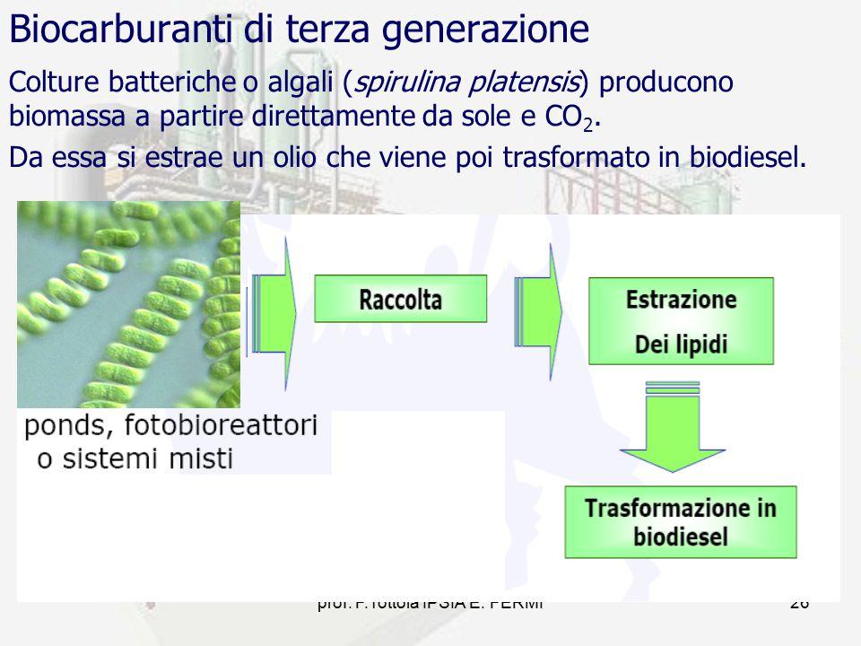 prof. F.Tottola IPSIA E. FERMI26 Biocarburanti di terza generazione Colture batteriche o algali (spirulina platensis) producono biomassa a partire dir