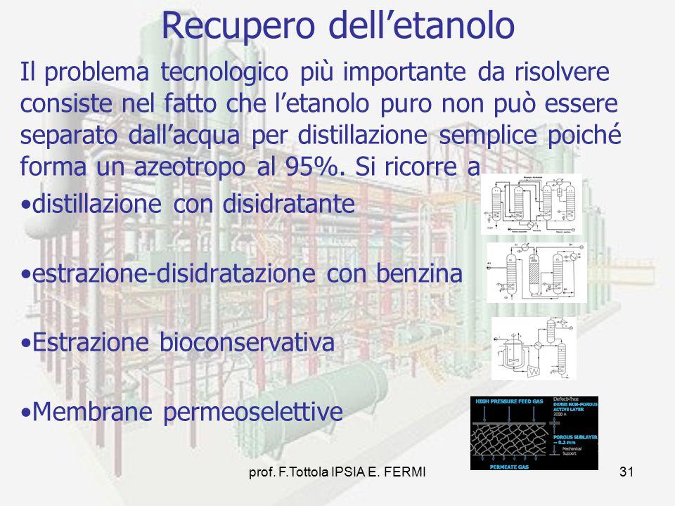 prof. F.Tottola IPSIA E. FERMI31 Il problema tecnologico più importante da risolvere consiste nel fatto che l'etanolo puro non può essere separato dal