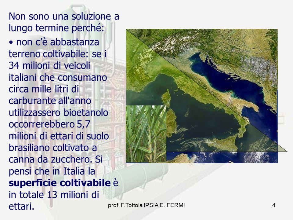 4 Non sono una soluzione a lungo termine perché: non c'è abbastanza terreno coltivabile: se i 34 milioni di veicoli italiani che consumano circa mille