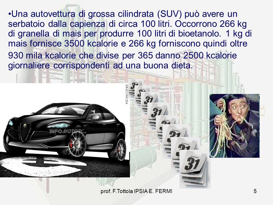 prof. F.Tottola IPSIA E. FERMI5 Una autovettura di grossa cilindrata (SUV) può avere un serbatoio dalla capienza di circa 100 litri. Occorrono 266 kg