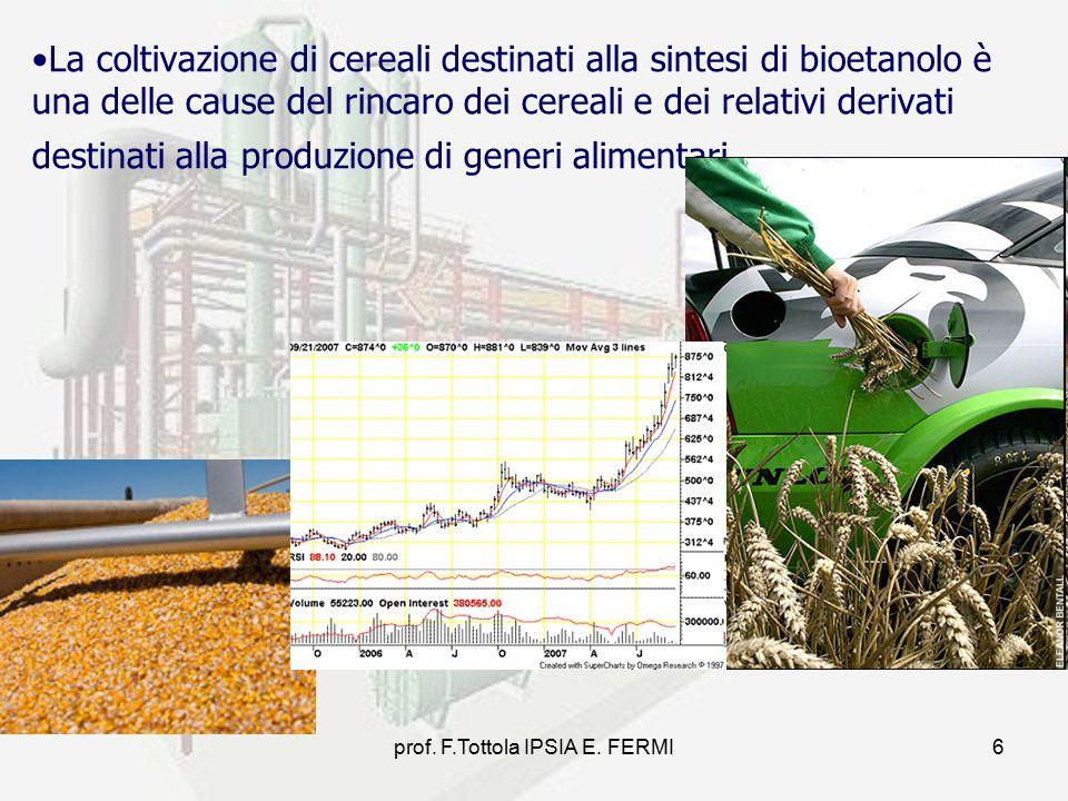 prof. F.Tottola IPSIA E. FERMI6 La coltivazione di cereali destinati alla sintesi di bioetanolo è una delle cause del rincaro dei cereali e dei relati