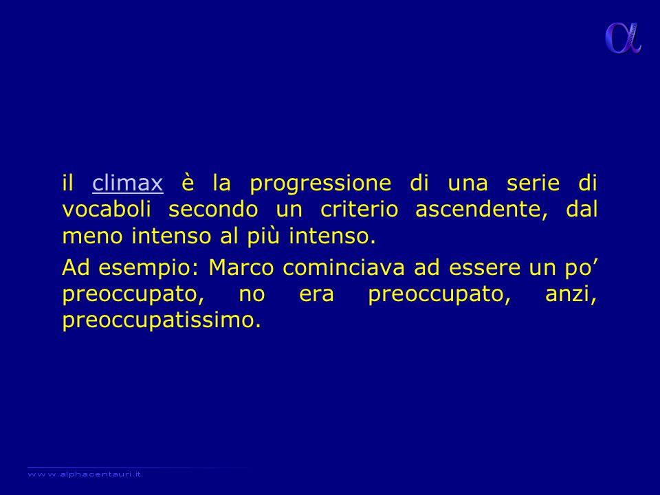 il climax è la progressione di una serie di vocaboli secondo un criterio ascendente, dal meno intenso al più intenso.climax Ad esempio: Marco comincia
