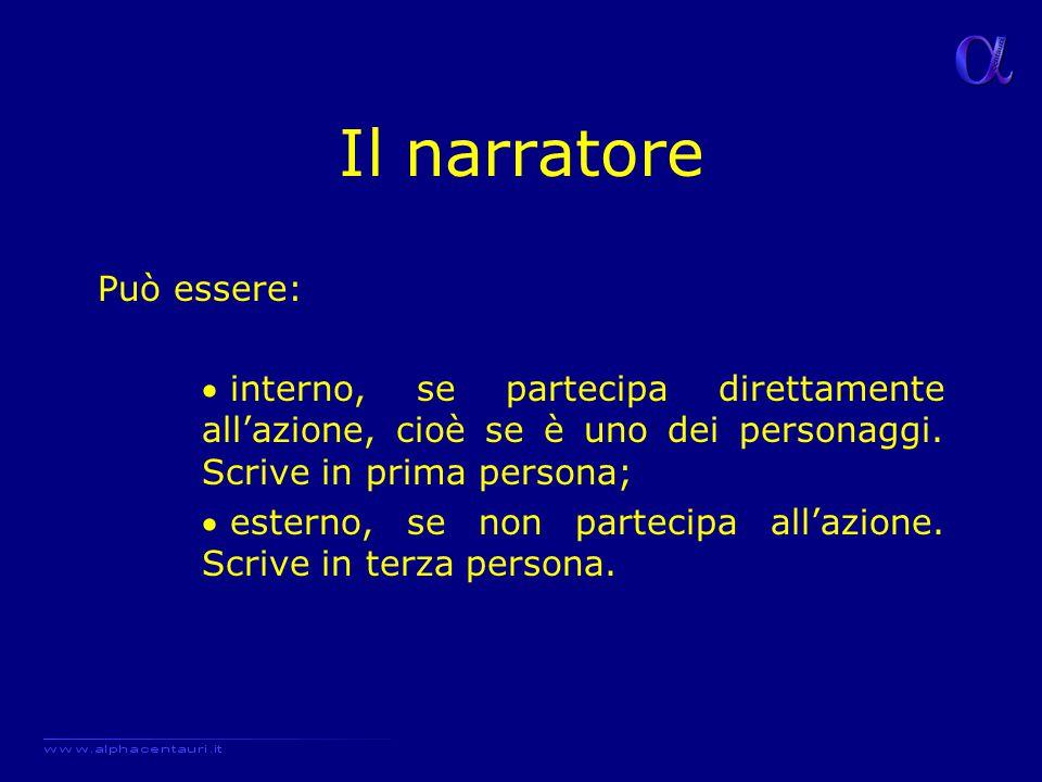 Il narratore Può essere:  interno, se partecipa direttamente all'azione, cioè se è uno dei personaggi. Scrive in prima persona;  esterno, se non par