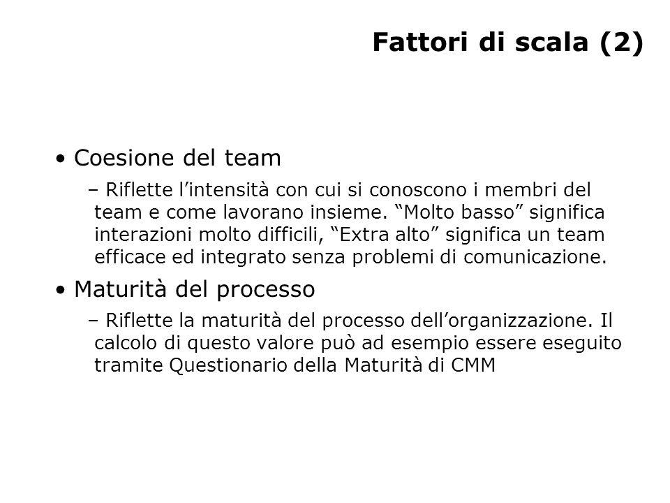 """Fattori di scala (2) Coesione del team – Riflette l'intensità con cui si conoscono i membri del team e come lavorano insieme. """"Molto basso"""" significa"""