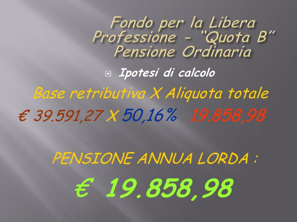  Ipotesi di calcolo Base retributiva X Aliquota totale € 39.591,27 X 50,16% = 19.858,98 PENSIONE ANNUA LORDA : € 19.858,98