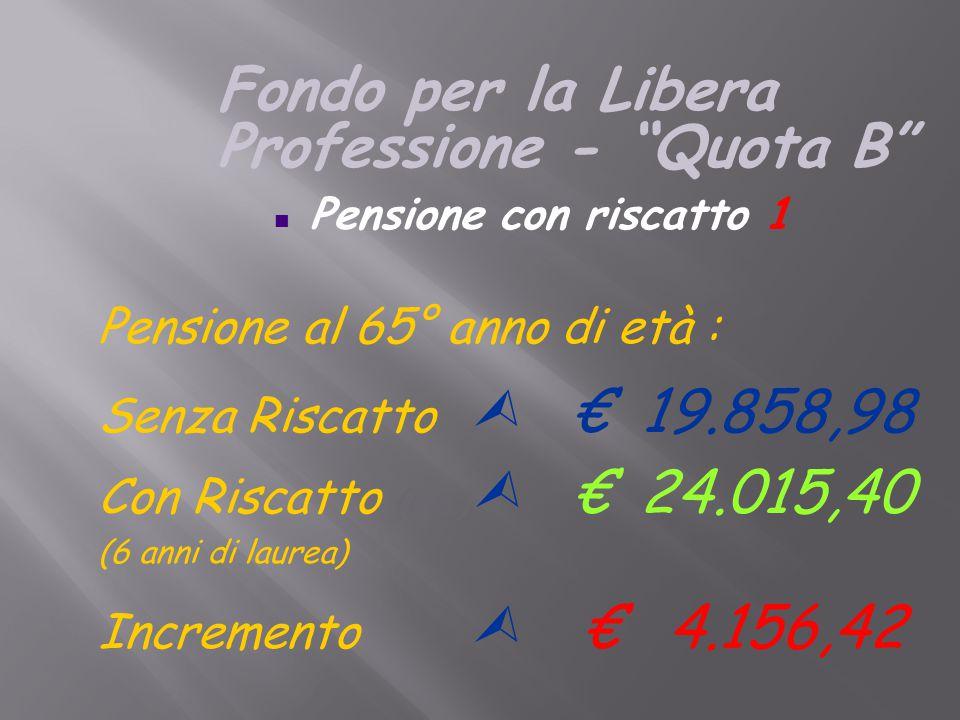 Pensione al 65° anno di età : Senza Riscatto  € 19.858,98 Con Riscatto (6 a.)  € 24.015,40 (6 anni di laurea) Incremento  € 4.156,42 n Pensione con riscatto 1 Fondo per la Libera Professione - Quota B