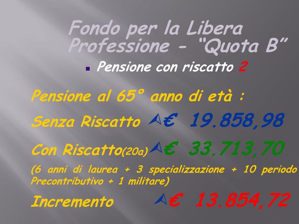 Pensione al 65° anno di età : Senza Riscatto  € 19.858,98 Con Riscatto (20a)  € 33.713,70 (6 anni di laurea + 3 specializzazione + 10 periodo Precontributivo + 1 militare) Incremento  € 13.854,72 n Pensione con riscatto 2 Fondo per la Libera Professione - Quota B