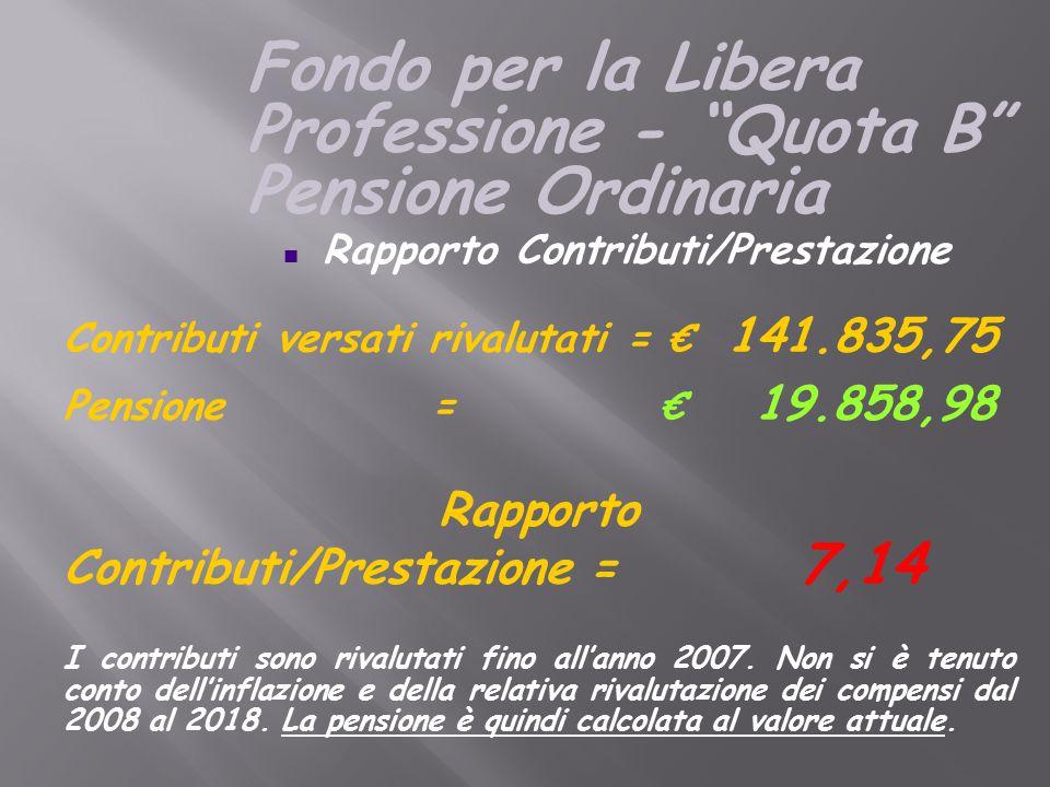 n Rapporto Contributi/Prestazione Contributi versati rivalutati = € 141.835,75 Pensione = € 19.858,98 Rapporto Contributi/Prestazione= 7,14 I contributi sono rivalutati fino all'anno 2007.