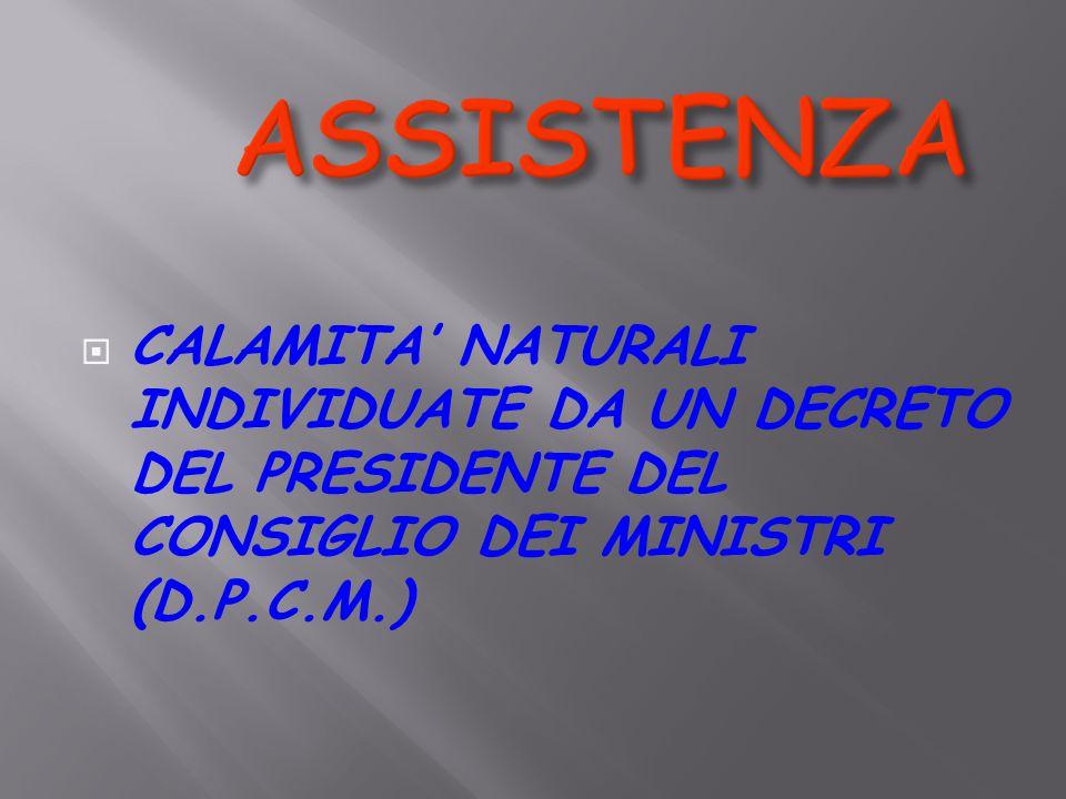  CALAMITA' NATURALI INDIVIDUATE DA UN DECRETO DEL PRESIDENTE DEL CONSIGLIO DEI MINISTRI (D.P.C.M.)