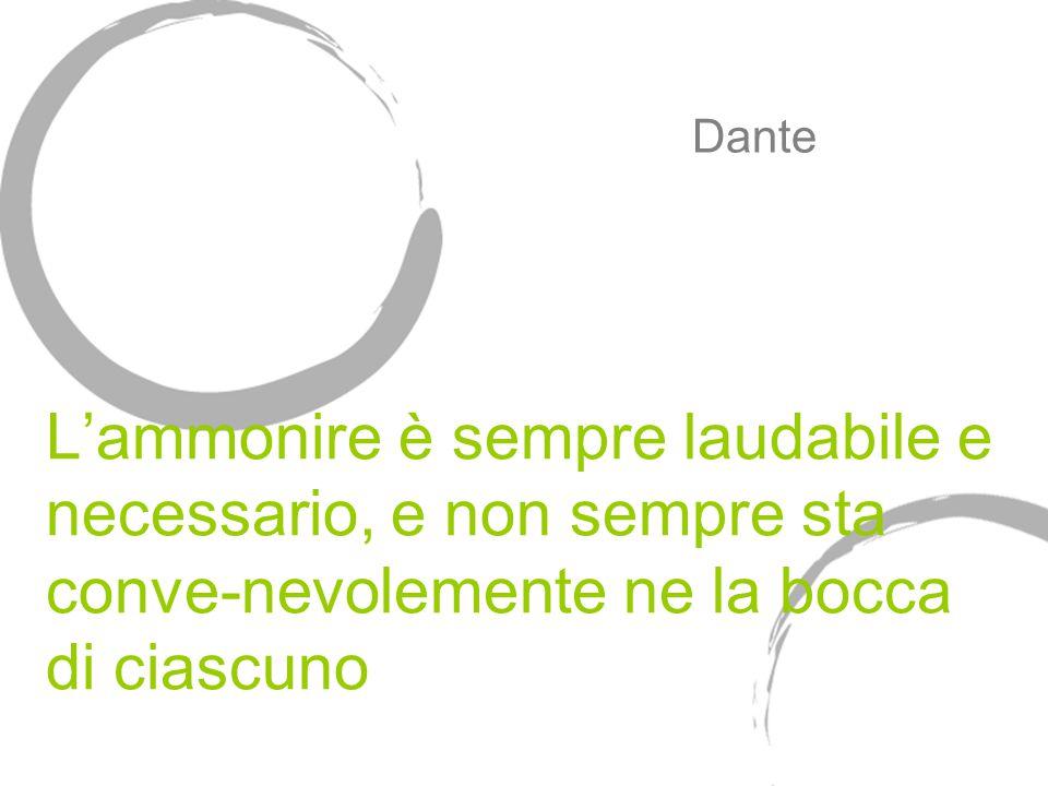 L'ammonire è sempre laudabile e necessario, e non sempre sta conve-nevolemente ne la bocca di ciascuno Dante