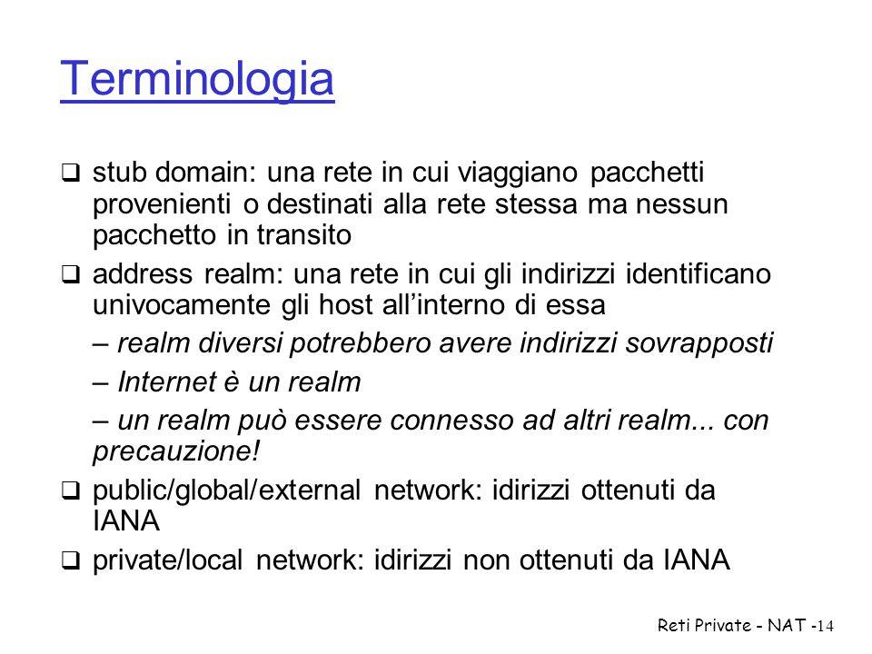 Reti Private - NAT-14 Terminologia  stub domain: una rete in cui viaggiano pacchetti provenienti o destinati alla rete stessa ma nessun pacchetto in