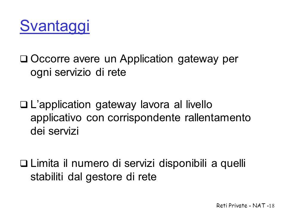 Reti Private - NAT-18 Svantaggi  Occorre avere un Application gateway per ogni servizio di rete  L'application gateway lavora al livello applicativo