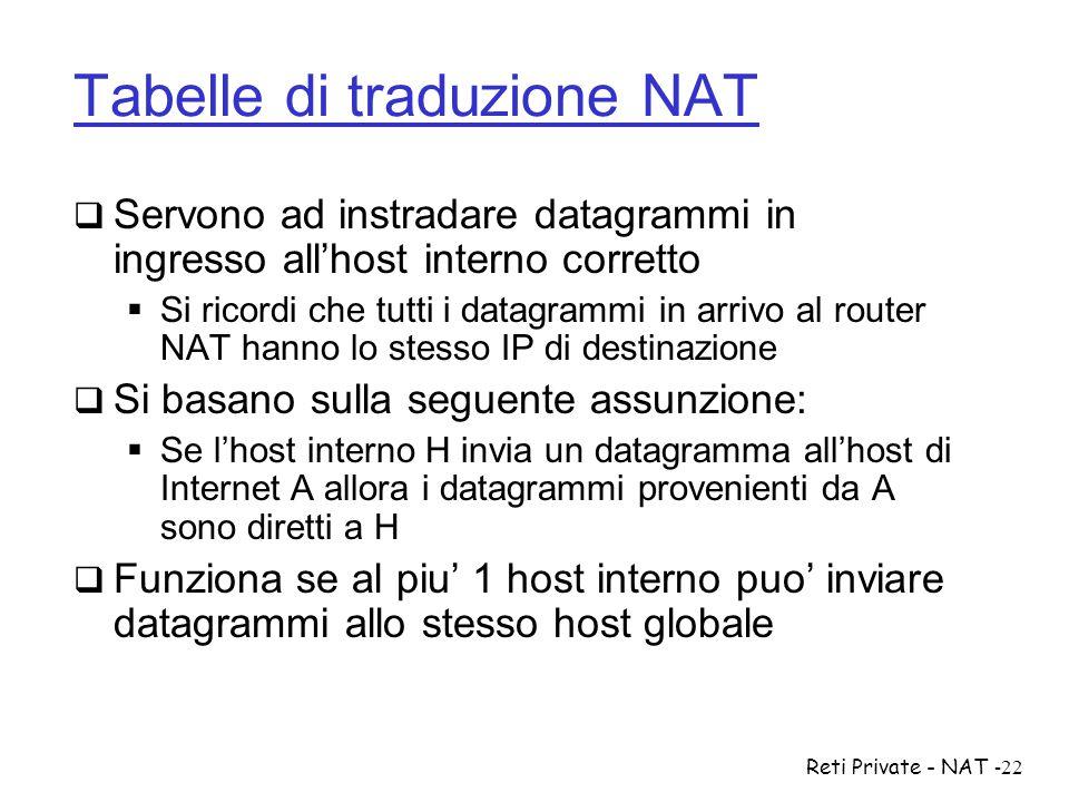 Reti Private - NAT-22 Tabelle di traduzione NAT  Servono ad instradare datagrammi in ingresso all'host interno corretto  Si ricordi che tutti i data