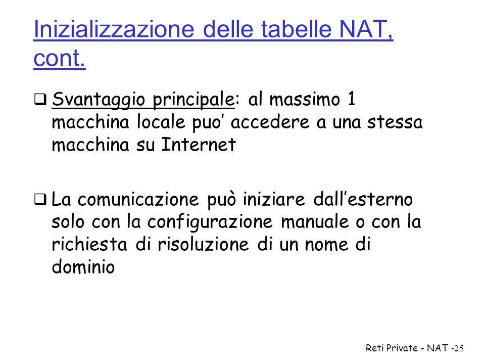 Reti Private - NAT-25 Inizializzazione delle tabelle NAT, cont.  Svantaggio principale: al massimo 1 macchina locale puo' accedere a una stessa macch