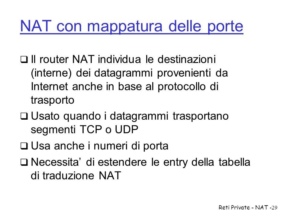 Reti Private - NAT-29 NAT con mappatura delle porte  Il router NAT individua le destinazioni (interne) dei datagrammi provenienti da Internet anche i