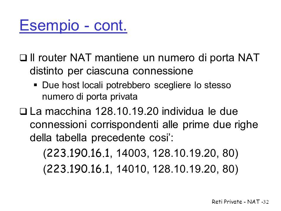 Reti Private - NAT-32 Esempio - cont.  Il router NAT mantiene un numero di porta NAT distinto per ciascuna connessione  Due host locali potrebbero s