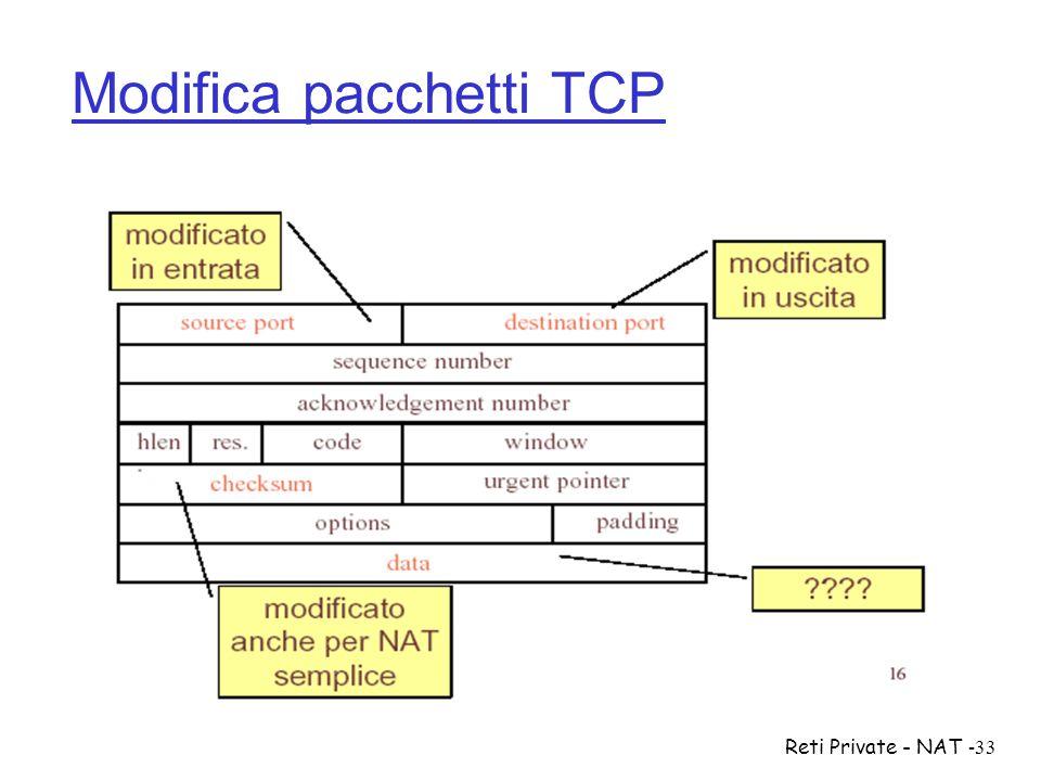 Reti Private - NAT-33 Modifica pacchetti TCP