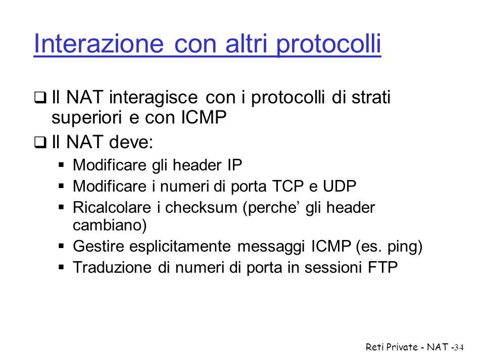 Reti Private - NAT-34 Interazione con altri protocolli  Il NAT interagisce con i protocolli di strati superiori e con ICMP  Il NAT deve:  Modificar
