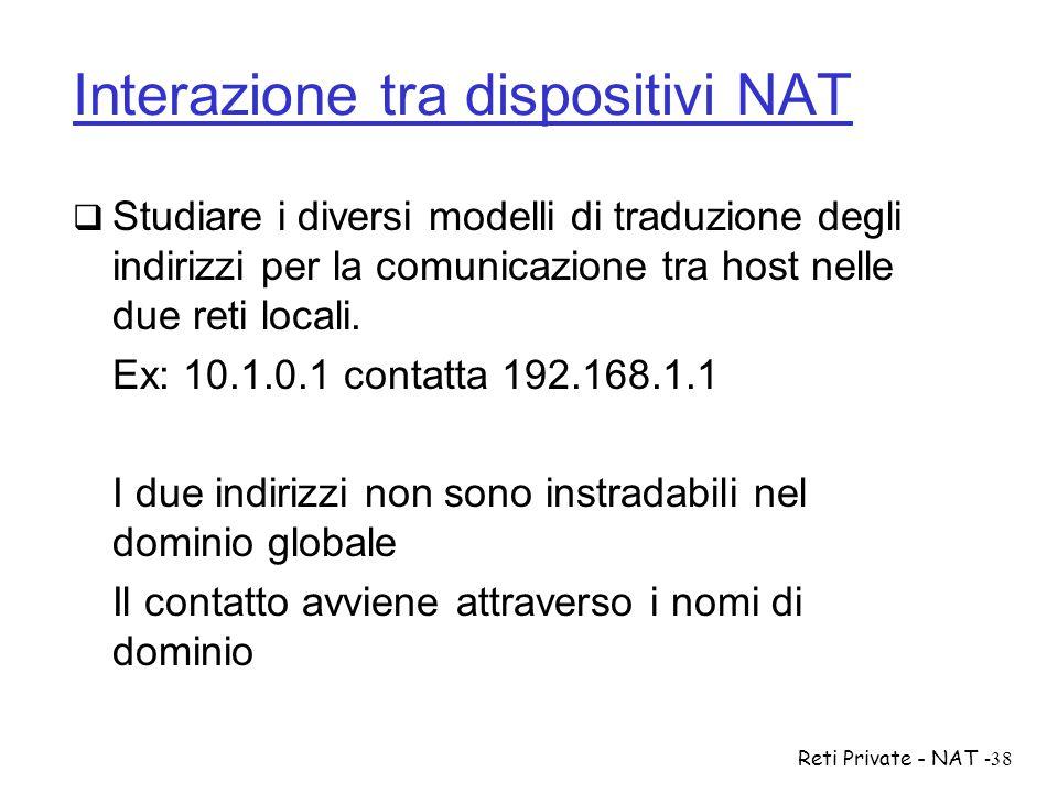 Reti Private - NAT-38 Interazione tra dispositivi NAT  Studiare i diversi modelli di traduzione degli indirizzi per la comunicazione tra host nelle d