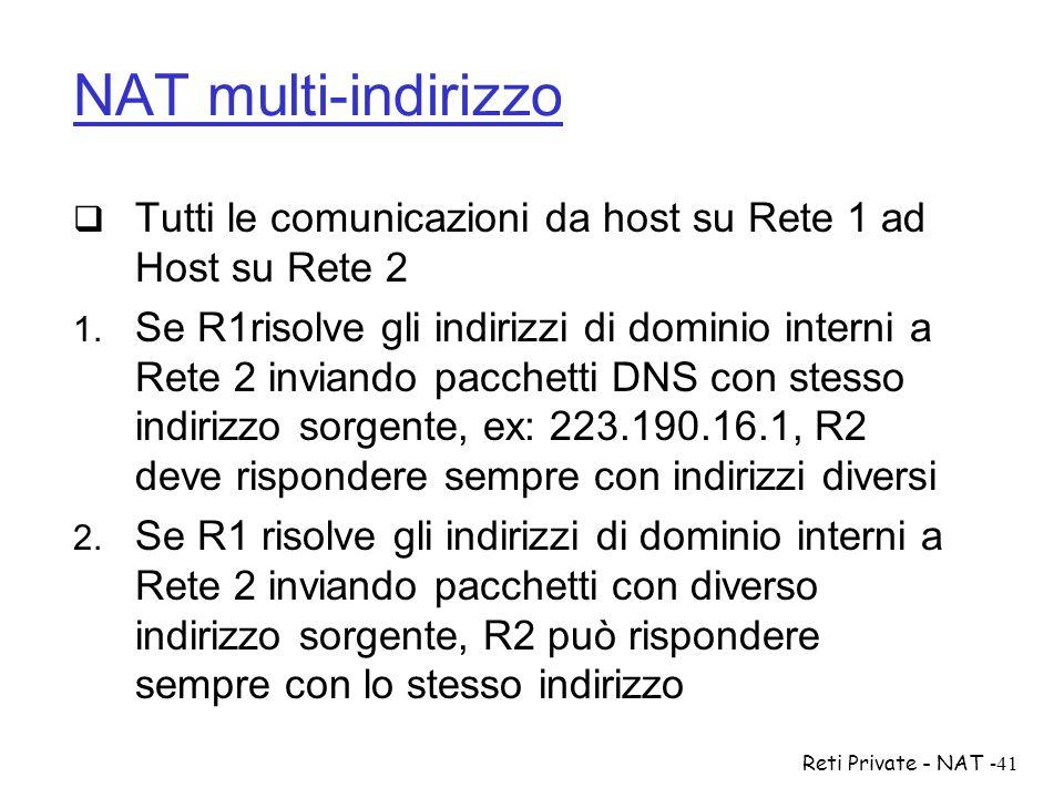 Reti Private - NAT-41 NAT multi-indirizzo  Tutti le comunicazioni da host su Rete 1 ad Host su Rete 2  Se R1risolve gli indirizzi di dominio intern