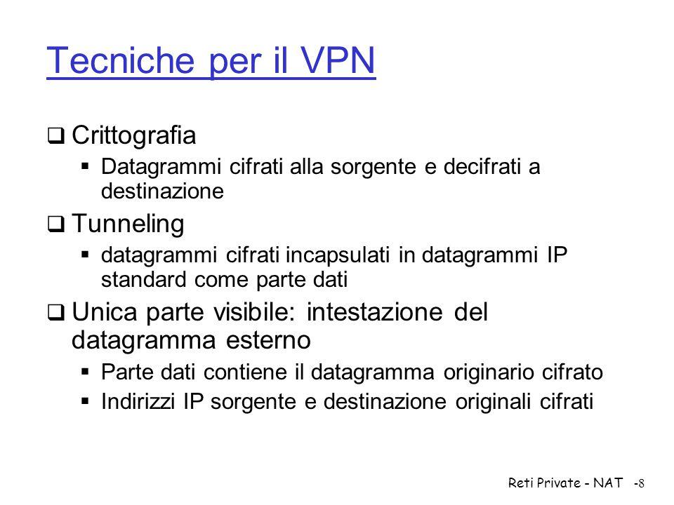 Reti Private - NAT-29 NAT con mappatura delle porte  Il router NAT individua le destinazioni (interne) dei datagrammi provenienti da Internet anche in base al protocollo di trasporto  Usato quando i datagrammi trasportano segmenti TCP o UDP  Usa anche i numeri di porta  Necessita' di estendere le entry della tabella di traduzione NAT