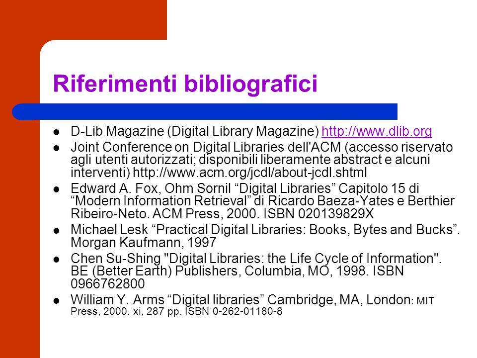 Aspetti tecnici: archiviazione a lungo termine conservazione Caratteristica delle biblioteche digitali: garanzia della perennità di accesso nello spazio e nel tempo - preservazione su altri supporti - mirroring - trasporto in altri sistemi, hardware e software