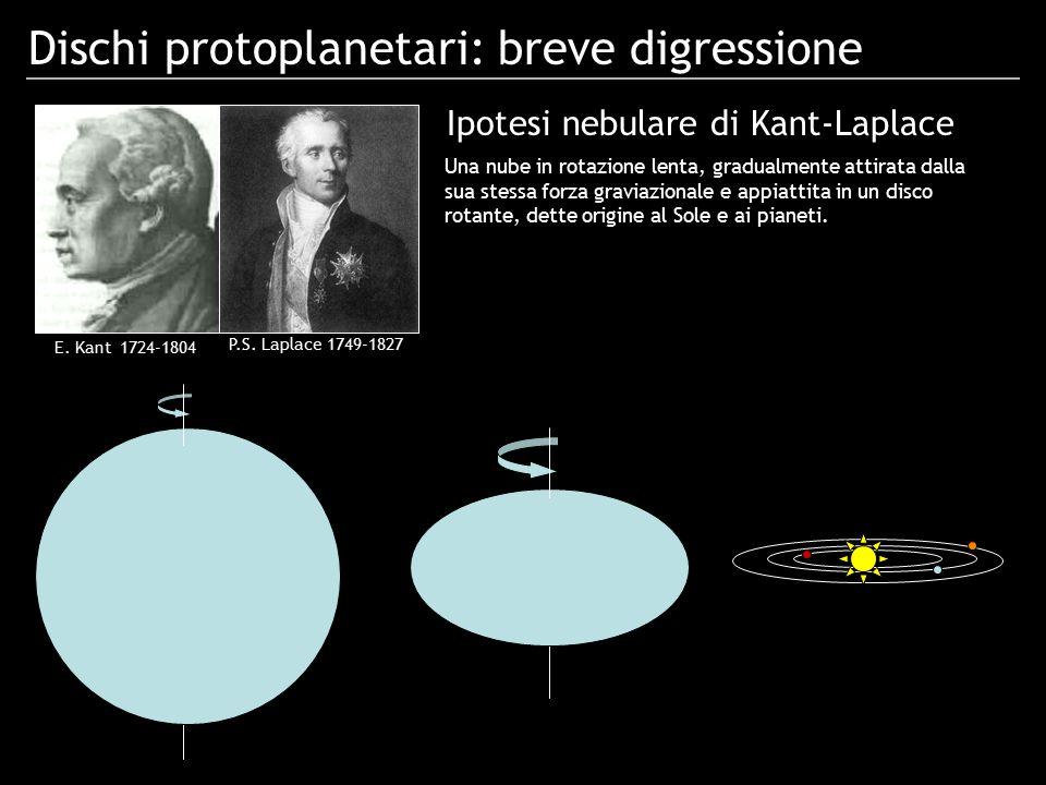 Dischi protoplanetari: breve digressione E. Kant 1724-1804 P.S. Laplace 1749-1827 Una nube in rotazione lenta, gradualmente attirata dalla sua stessa