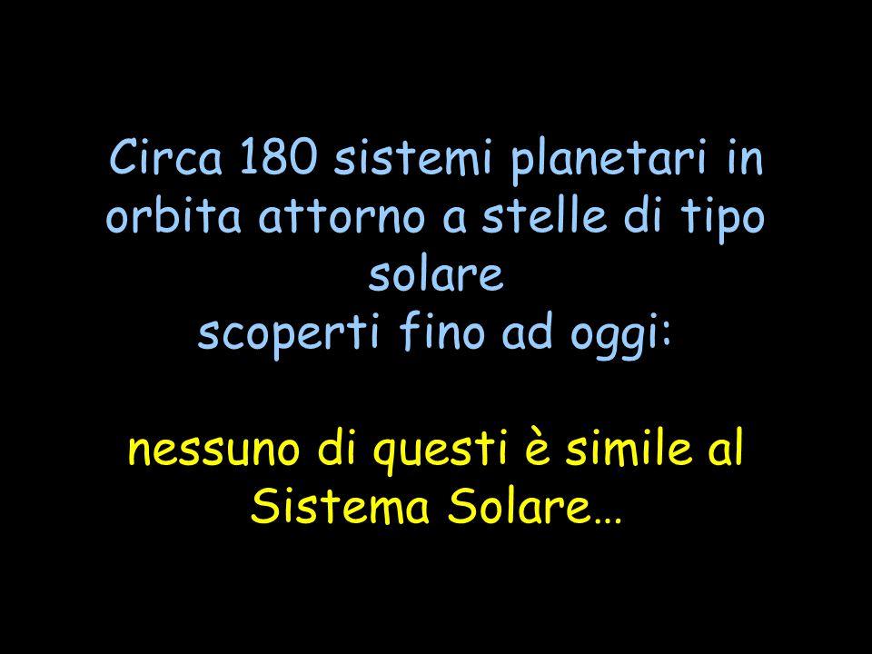 Circa 180 sistemi planetari in orbita attorno a stelle di tipo solare scoperti fino ad oggi: nessuno di questi è simile al Sistema Solare…