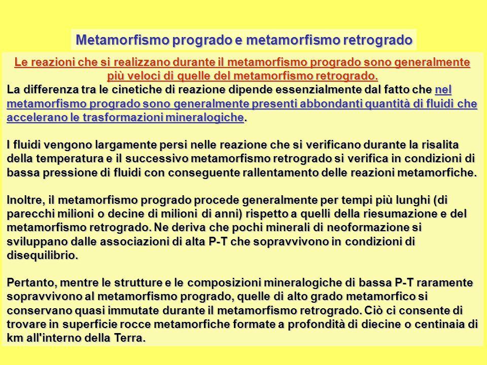 Metamorfismo progrado e metamorfismo retrogrado Le reazioni che si realizzano durante il metamorfismo progrado sono generalmente più veloci di quelle