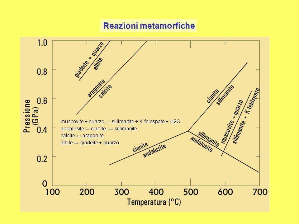 Reazioni metamorfiche andalusite ↔ cianite ↔ sillimanite calcite ↔ aragonite muscovite + quarzo → sillimanite + K-feldspato + H2O albite → giadeite +