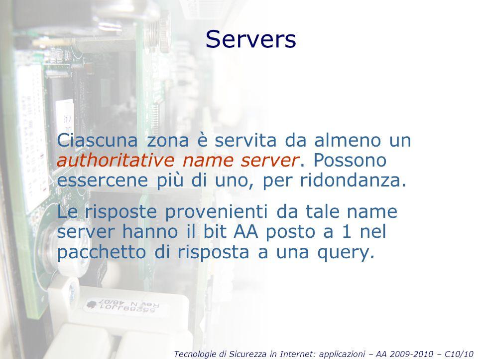 Tecnologie di Sicurezza in Internet: applicazioni – AA 2009-2010 – C10/10 Servers Ciascuna zona è servita da almeno un authoritative name server.