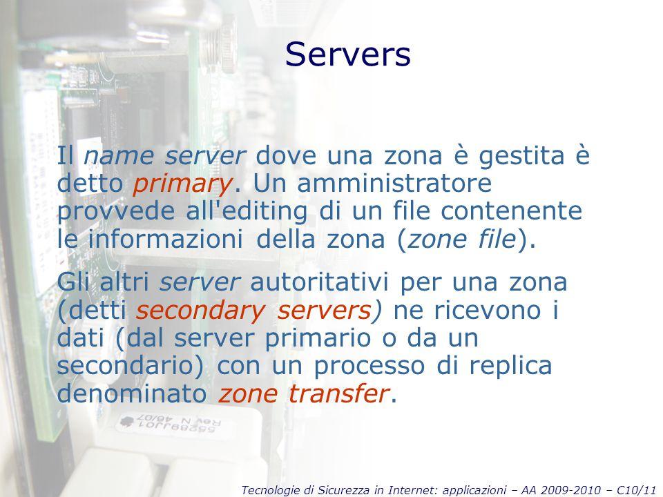 Tecnologie di Sicurezza in Internet: applicazioni – AA 2009-2010 – C10/11 Servers Il name server dove una zona è gestita è detto primary.