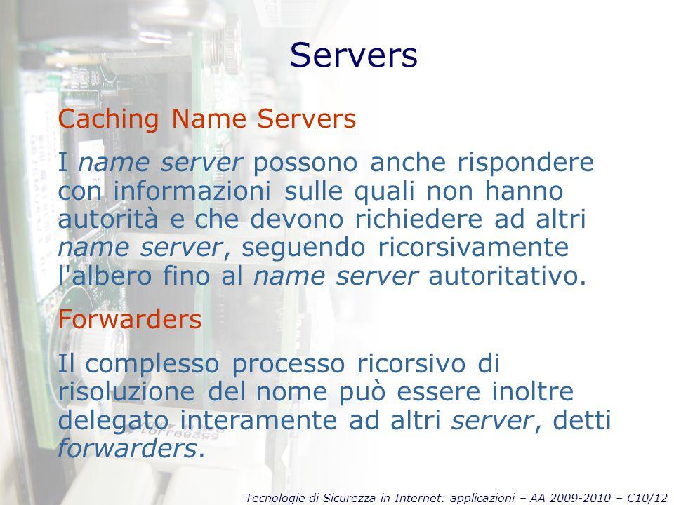 Tecnologie di Sicurezza in Internet: applicazioni – AA 2009-2010 – C10/12 Servers Caching Name Servers I name server possono anche rispondere con informazioni sulle quali non hanno autorità e che devono richiedere ad altri name server, seguendo ricorsivamente l albero fino al name server autoritativo.