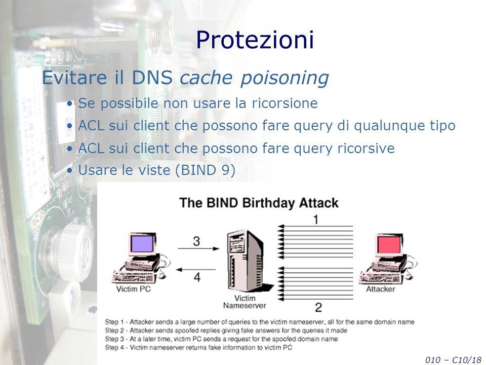 Tecnologie di Sicurezza in Internet: applicazioni – AA 2009-2010 – C10/18 Protezioni Evitare il DNS cache poisoning Se possibile non usare la ricorsione ACL sui client che possono fare query di qualunque tipo ACL sui client che possono fare query ricorsive Usare le viste (BIND 9)