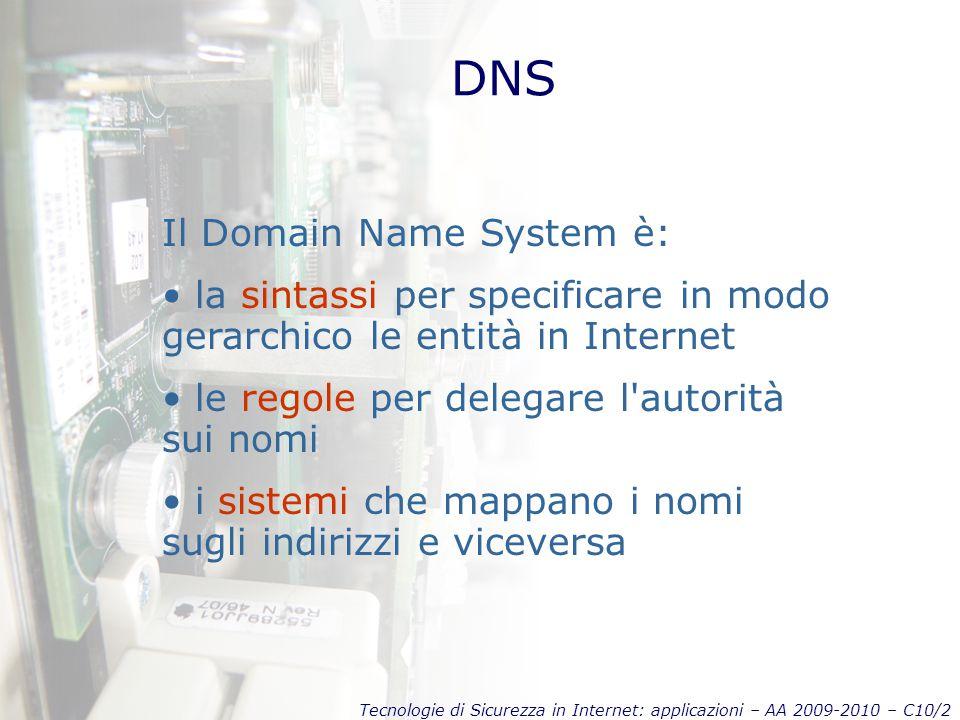 Tecnologie di Sicurezza in Internet: applicazioni – AA 2009-2010 – C10/2 DNS Il Domain Name System è: la sintassi per specificare in modo gerarchico le entità in Internet le regole per delegare l autorità sui nomi i sistemi che mappano i nomi sugli indirizzi e viceversa