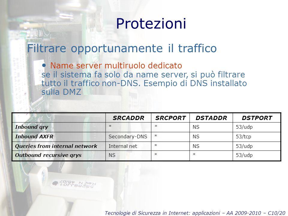 Tecnologie di Sicurezza in Internet: applicazioni – AA 2009-2010 – C10/20 Protezioni Filtrare opportunamente il traffico Name server multiruolo dedicato se il sistema fa solo da name server, si può filtrare tutto il traffico non-DNS.