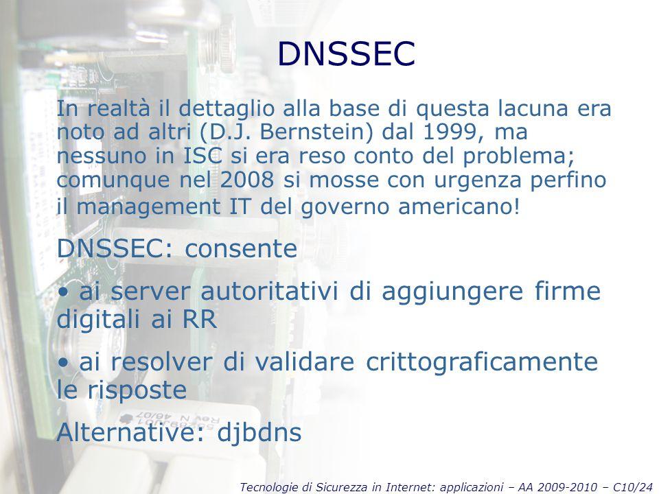 Tecnologie di Sicurezza in Internet: applicazioni – AA 2009-2010 – C10/24 DNSSEC In realtà il dettaglio alla base di questa lacuna era noto ad altri (D.J.